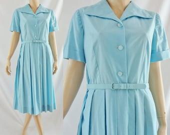 SALE Vintage Fifties Dress - 1950's Bright Blue Shirtwaist Dress - 50's Fit and Flare Dress - Short Sleeve Day Dress - Large 50s Dress