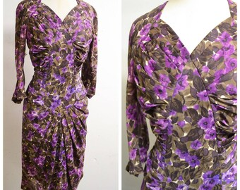 SALE 1950s 60s Purple printed rayon jersey wiggle dress / 1960s 50s ruched evening dress - S