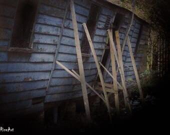 Horror Print - Horror House, Cabin, Derelict, Abandoned, A3,Horror Scene,Dark Print,Digital Art,Horror Art,Dark Art, Grainy, Old Film, 0060