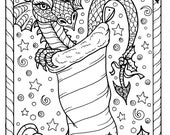 Dragon Christmas Coloring page Digital JPG file Adult color fantasy