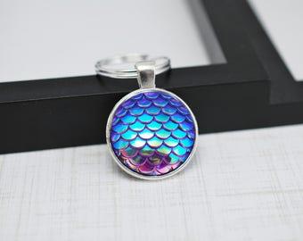 Mermaid Scales Keychain, Mermaid Keychain, Purple Keychain, Mermaid Key Chain, Mermaid Gift, Fish Scales, Purple Key Chain, Gift For Her