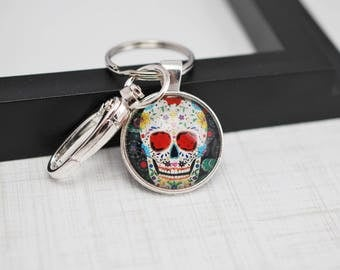 Sugar Skull Keychain, Dia de los Muertos, Skull Keychain, Sugar Skull, Day of the Dead, Black Keychain, Key Ring, Cabochon Keychain, Skull