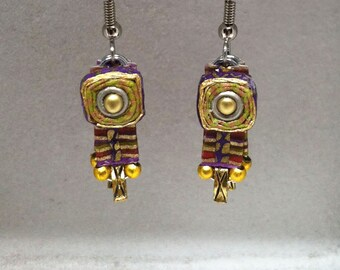 Paper jewelry - First anniversary gift - Red / green  / purple chrome earrings