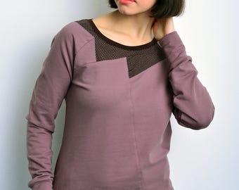 sweatshirt raspberry polka dots by STADTKIND