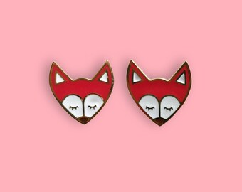 Fox Earrings - 22k Gold Plated Tiny Red Woodland Fox Stud Earrings