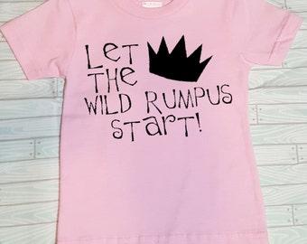 Wild Rumpus Toddler Tee Shirt. Let The Wild Rumpus Start. Where the Wild Things Are. Toddler T-Shirt. Free Shipping! Wild Rumpus Shirt.