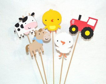 Farm Centerpiece Barnyard Accent Sticks Birthday Party  Table Decoration Baby Shower Diaper Cake Topper Red Tractor Cow Horse READY TO SHiP