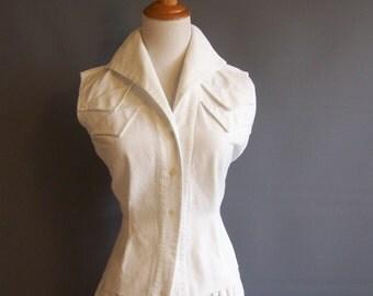 1950s atomic-era blouse waffle-weave pique white blouse white cotton blouse 1950s blouse 1950s shirt 50s white shirt sanforized cotton
