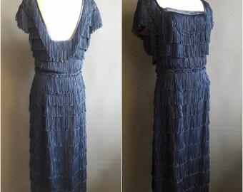 1950s fringed dress Edith Small label fringe dress wiggle shimmy dress NYE 50s fringe dress 1950s rayon dress medium/large