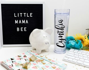 Your Name Simple Personalized Tumbler, Gift Tumbler, Water Bottle, Cup with Straw and Lid