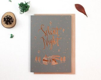 Christmas Card - Silent Night - Copper Foil Greeting Card