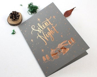 Christmas Card - Silent Night - 10 Copper Foil Greeting Cards