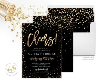Engagement Party Invitation, Engagement Invite, Party Invitation, Black Gold Engagement Party Invite, Party Invitation, Black Gold Party 5x7