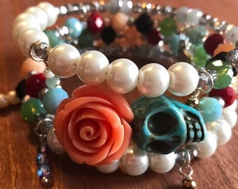 So charmed Day of the Dead Orange Rose and Sugar Skull Memory Wire Wrapped Boho Bracelet