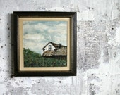 Vintage Whire Farm House Painting with Wooden Frame