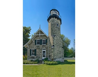 Lighthouse by Lake Michigan on the White River at Whitehall and Montague Michigan No.SQ1 A Fine Art Lighthouse Photograph