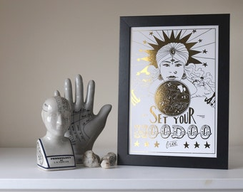 Gold Foiled Print // Set Your Hoodoo Free // Inspirational Quote - Copper Foil Print - A4 Print - Silver Foil Print - Inspirational Print