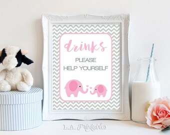 Pink Elephant Drinks Sign, Drink Table Sign, Pink and Grey Chevron, Baby Girl Shower Sign, 2 Sizes, DIY Printable, INSTANT DOWNLOAD