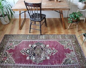 "vintage Turkish rug, rustic faded Anadol rug, happy worn bohemian rug, 6'8"" x 3'11"""