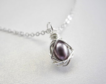 Petite Bird Nest Jewelry, Lavender Colored Cultured Freshwater Pearl Wire Wrapped Bird Nest Pendant on Chain Necklace