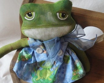 Small Green Frog cloth doll, green frog with blue dress, Hand made frog doll by Morning Mist Designs