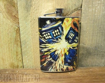 Van Gogh Tardis Flask, Gift for Whovian, Stainless Steel Flask, Vinyl Wrapped, Tardis, Doctor Who Fans
