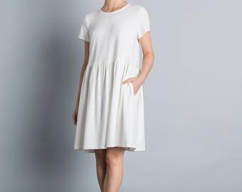 beach wedding dress oversized summer dress white day dress loose fit boho