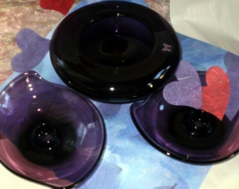 SALE ! Set Bowl Vase & Candlesticks Candle Holders WATERFORD Amethyst Purple Marquise Valentines Day Decor