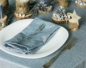 Silver Napkins - Metallic Table Decor - Blue Silver Napkins - Set 6 Sparkly Cloth Napkins - Easter Napkins - Weddings Napkins Linen Napkins