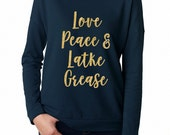 Love, Peace, and Latke Grease gold glitter indigo long sleeve women's tee