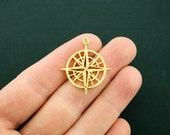 Compass Pendant Charm Gold Plated Copper 2 Sided Open Design - GC1057