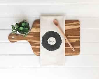 Tea Towel - Home Tea Towel Boxwood Tea Towel Boxwood Wreath Cotton Kitchen Towel Dish Towel Housewarming Gift Farmhouse Decor Spring Decor