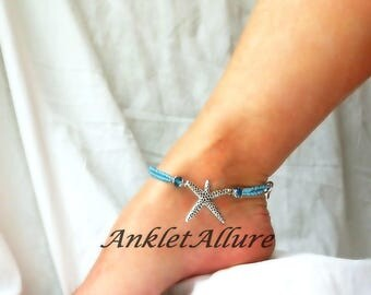 Starfish Anklet Blue Double Anklet Beach Anklet Cruise Ankle Bracelet Body Jewelry