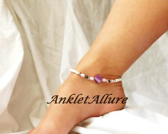 Beach Anklet Purple Ankle Bracelet Shell Body Jewelry Foot Jewelry