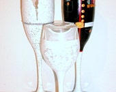 Military Uniform and Wedding Dress & Little Girl Dress Set of 3 / 6 oz. Champagne Flutes and 4 oz. Wine Glass Bride and Groom Hand Painted