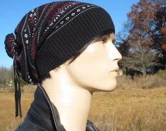 Oversized Dread Tam Hat Men's Leather Tie Back Cotton Knit Slouchy Beanie Fair Isle Dreadlock Tam Black Gray Red Winter Hat  A1880