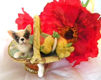 Dog in Basket Ornament - Puppy Dog in Basket - 1960's Animal Ornament