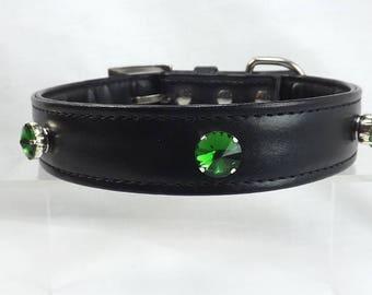 Slave Collar Green Rhinestones mature BDSM Collar bling submissive collar bondage