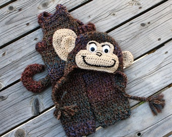 Monkey Hat and Overalls, Baby Monkey Costume, Monkey Photo prop, Monkey Halloween Costume with Tail, by JoJo's Bootique