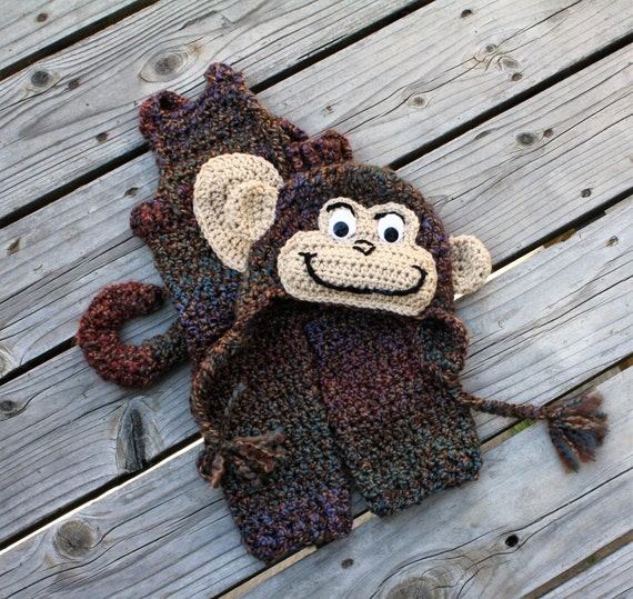 Monkey Hat and Overalls, Baby Monkey Costume,