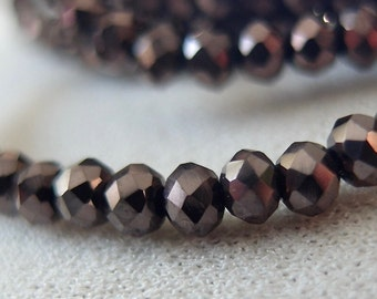"11"" 3mm Gunmetal Opaque Metallic Faceted Crystal Rondell Beads, approx. 100 pieces"