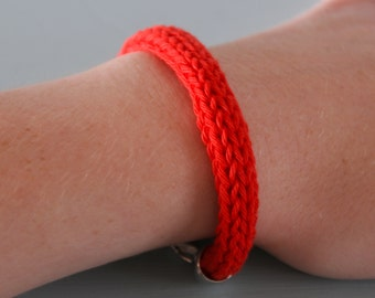 Red Knitted Bracelet - Scarlet Chunky Cotton Bangle Silver Plated Colourful Jewellery Gift for Her by Emma Dickie Design