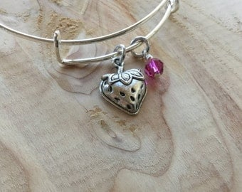 SALE- Strawberry Bangle Bracelet- Strawberry Charm, and accent bead- only 1 available
