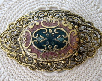 Vintage FREIRICH Filigree Brooch Pin Gold Tone Signed Black Pink Green Enamel Gold Inlay Design Mother's Day Gift
