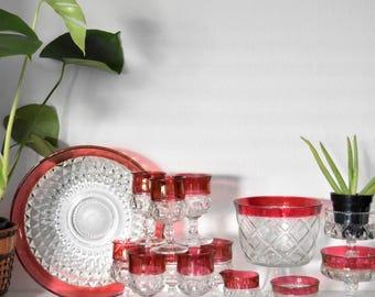 "13.5"" large tiffin ruby pink kings crown glass bowl / intricate"