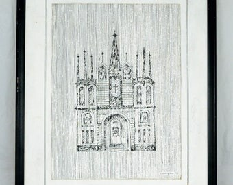 Vintage Realistic Original Ink Painting On Canvas The Cathedral Signed Wesley Pierson