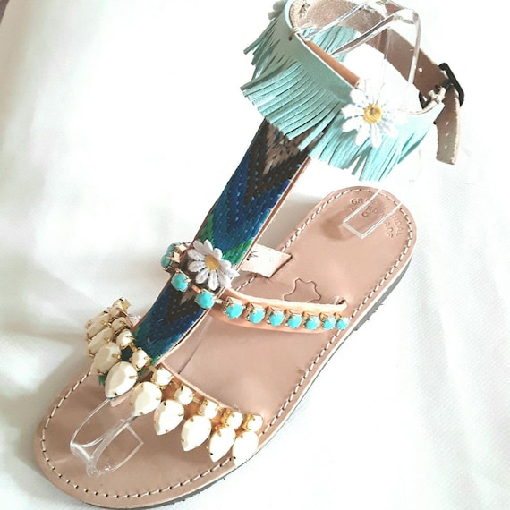 Gradiators with flowers, leather sandals/Boho/Indie/Hippie/Gypsy Sandals DAY SALE