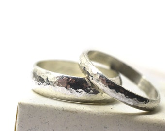 Domed Silver Couples Rings, Rustic Hammered Sterling Silver Wedding Bands, Custom Engraved Inscribed Commitment Bands, Personalized Jewelry
