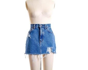 Vtg Dark Wash Distressed High Waist Mini Skirt size 8