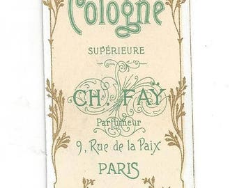 Vintage Ch Fay Eau de Cologne French Perfume Label, 1920s